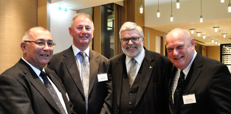 Michael Deed, Policy Director - AADA, Terry Keating, Deputy Chair - AADA and Patrick Tessier, CEO - AADA discuss imports with Senator Kim Carr at the FCAI Annual Dinner. Photo: Donna Ellis.